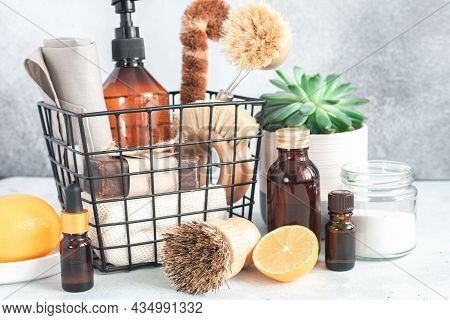 Wooden Bamboo Brushes, Baking Soda, Lemon, Essential Oils, Vinegar. Zero Waste Eco Friendly Cleaning
