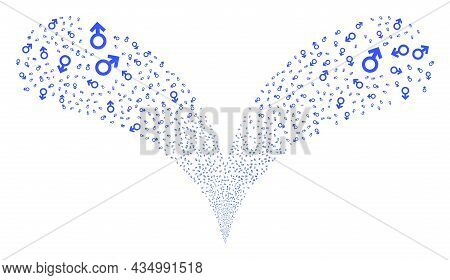 Male Symbol Double Fireworks Fountain. Male Symbol Burst Twice Fountain. Object Fountain Is Made Fro