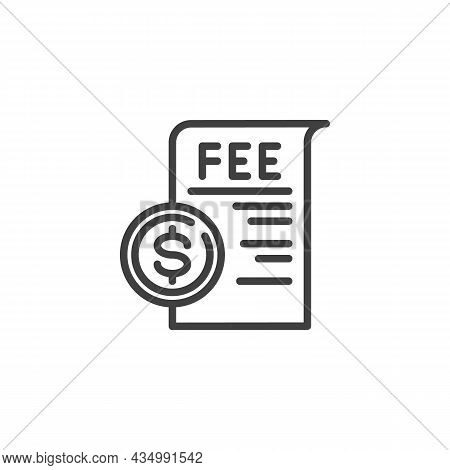 Dollar Coin, Fee Line Icon. Linear Style Sign For Mobile Concept And Web Design. Fee Payment Outline