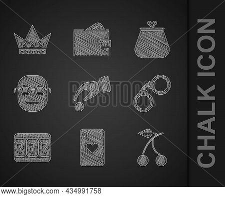 Set Hand Holding Casino Chips, Playing Card With Heart, Casino Slot Machine Cherry, Handcuffs, Slot
