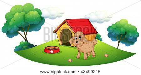 Illustration of a brown puppy playing outside the dog house on a white background