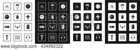 Set Worldwide, Suitcase, Radar With Targets On Monitor, Plane Landing, Box Flying Parachute, Airplan