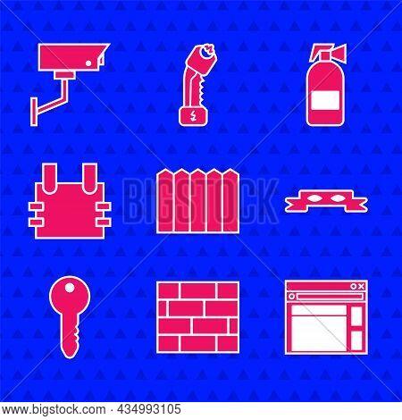 Set Garden Fence Wooden, Bricks, Website Template, Thief Eye Mask, Key, Bulletproof Vest, Fire Extin