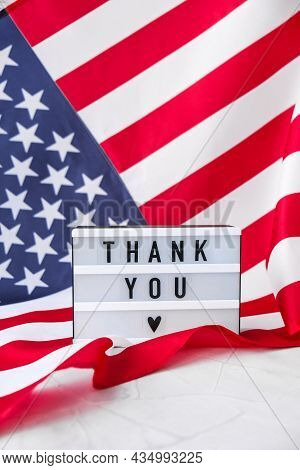 American Flag. Lightbox With Text Thank You Flag Of The United States Of America. July 4th Independe