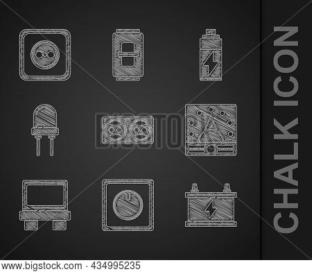 Set Electrical Outlet, Light Switch, Car Battery, Ampere Meter, Multimeter, Voltmeter, Fuse, Light E