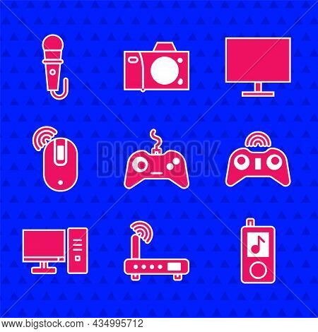 Set Gamepad, Router And Wi-fi Signal, Music Player, Wireless Gamepad, Computer Monitor, Computer Mou