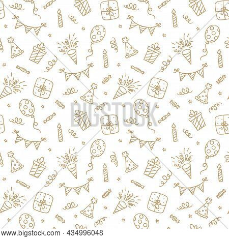 Seamless Pattern With Happy Birthday Doodles. Sketch Of Party Decoration, Gift Box And Balloons. Chi