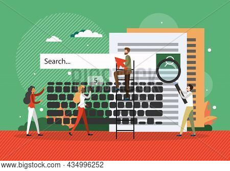 Search Engine, Web Search, Vector Illustration. People With Magnifying Glass, Arrow, Keyboard Search