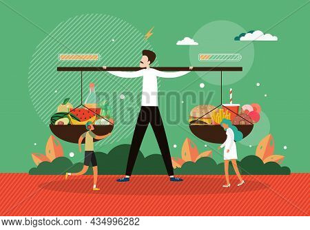 Man Holding Scales With Fruits And Fast Food, Vector Illustration. Equilibrium. Balance Healthy Eati