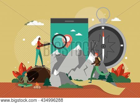 Mobile With Map Location Pin, People Travelers Camping, Hiking, Vector Illustration. Route Search. N