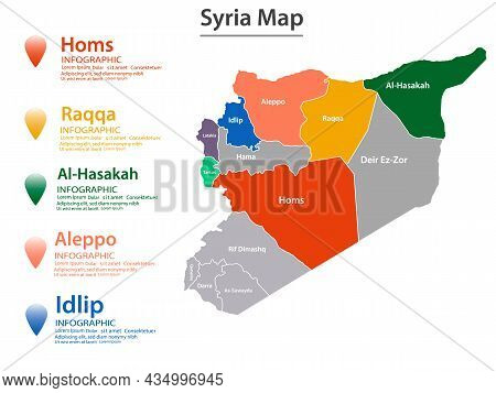 Syria Map Divided Into Federal States. Territory Of Country With Regional Borders.eps10