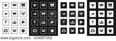 Set Bear Head, Elephant, Rat, Pig, Zoo Park, Dog And Giraffe Icon. Vector