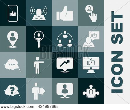 Set Project Team Base, Hand Like, Search People, Worker Location, And Icon. Vector