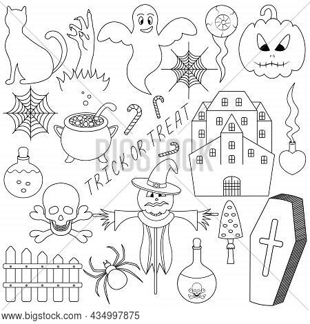 Halloween. Sketch. Set Of Vector Illustrations. Collection Of Festive Mystical Elements. Cat, Pumpki