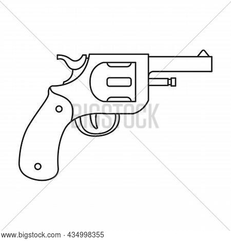 Pistol Of Revolver Vector Icon.outline Vector Icon Isolated On White Background Pistol Of Revolver.