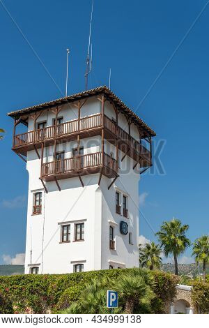 Puerto Portals, Spain; October 02 2021: Foundational Tower Of The Mallorcan Tourist Resort Of Puerto
