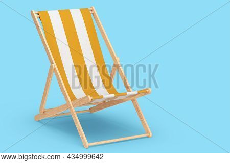 Orange Striped Beach Chair Isolated On Blue Background. 3d Rendering Of Beach And Ocean Vacations An