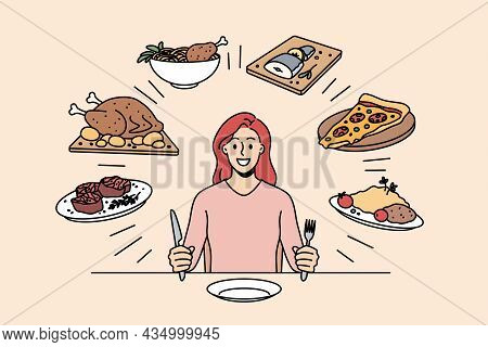 Food And Nutriment Choice Concept. Young Smiling Woman Cartoon Character Sitting At Table Ready To E
