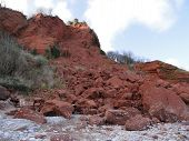 Coastal landslip photographed at Babbacombe in Devon poster