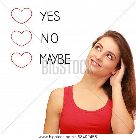 Romantic Girl Thinking About Love And Choosing Yes, No Or Maybe