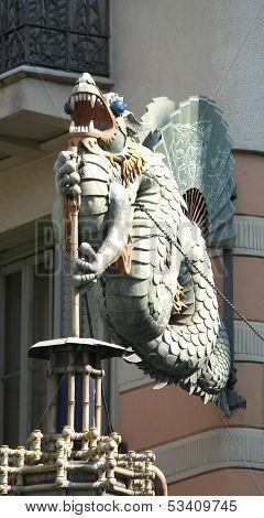 Barcelona, Spain - 2013 July 23: Dragon Of Casa Bruno Cuadros