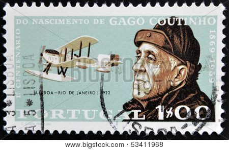 PORTUGAL - CIRCA 1969: A stamp printed in Portugal shows Gago Coutinho circa 1969