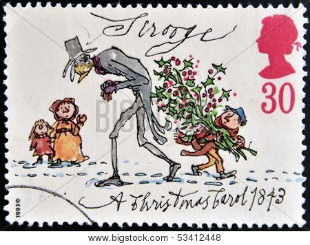 UNITED KINGDOM - CIRCA 1993: A stamp printed in Great Britain shows Scrooge from Christmas