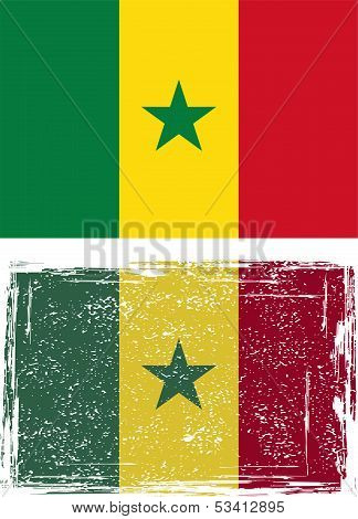 Senegalese grunge flag. Vector illustration..