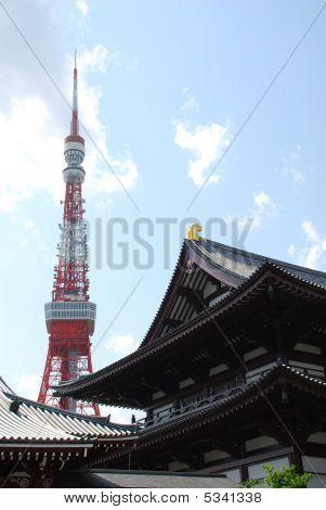 Tokyo Tower With Zojo-ji Temple