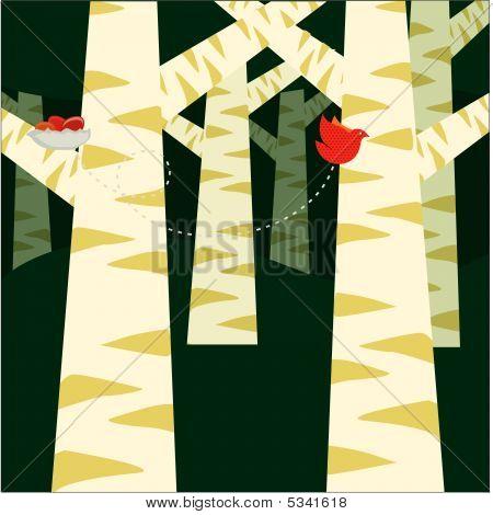 pine trees with bird