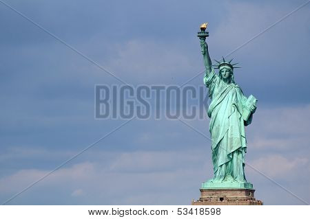 Statue Of Liberty Sculpture, On Liberty Island In The Middle Of New York Harbor, Manhattan.