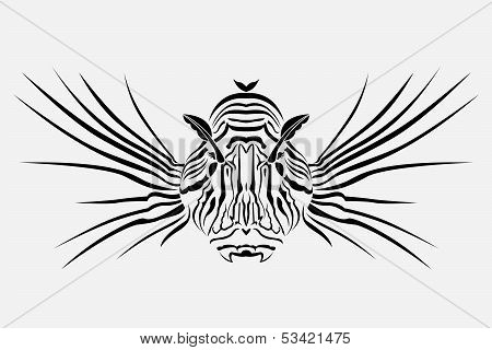 Lion fish. The vector tattoo
