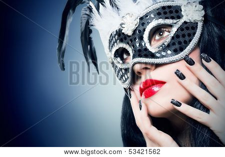 Girl In Black Carnival Mask With Manicure