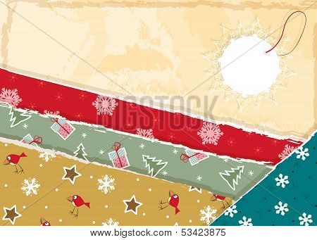 Vintage Christmas torn paper background