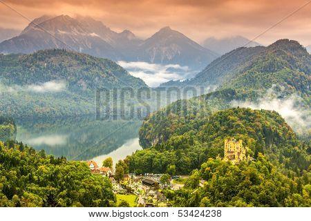 Misty day in the Bavarian Alps near Fussen, Germany.