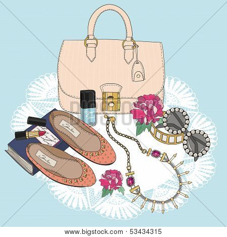 Fashion Essentials. Background With Bag, Sunglasses, Shoes, Jewelery, Makeup And Flowers.