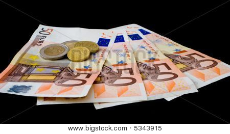 Four ¬50 notes, two ¬2 coins, a 20c piece and a 10c piece totaling two hundred and four euro thirty; poster