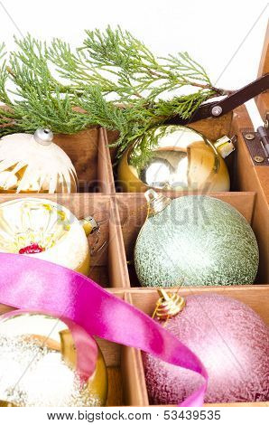 Christmas Balls In Wooden Box