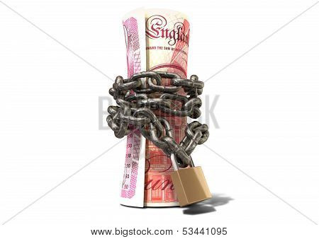 Rolled Up And Shackled British Pounds Standing