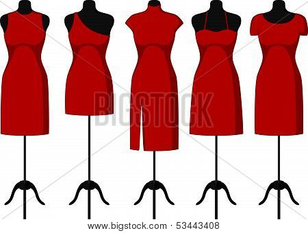 Different Cocktail and Evening Dresses on a mannequin. Vector
