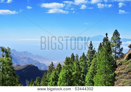 Tenerife Island and Mount Teide seen from the Llano del Roque Nublo in Gran Canaria Island, Spain