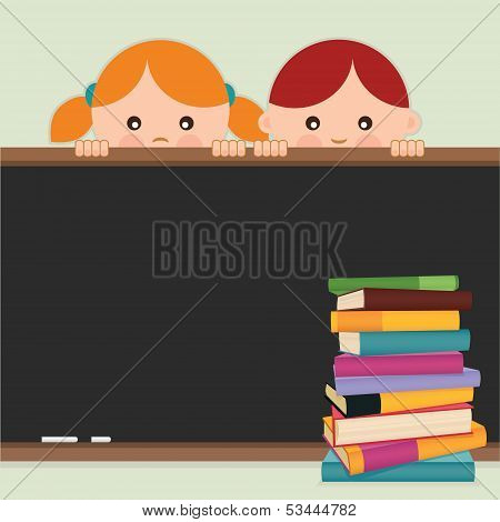 Back to school. Back to school-kids, blackboard and books. Vector illustration.