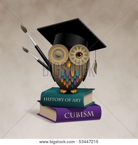 Owl sitting on books, concept of art education, eps10 vector