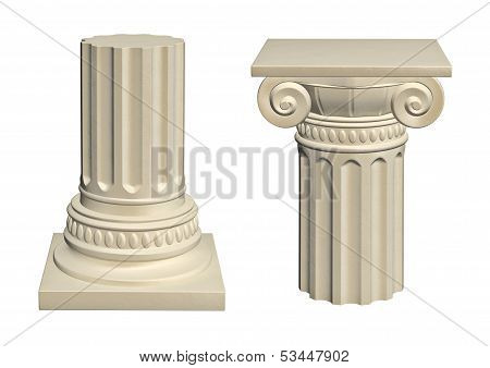 Stone column - isolated on white background 3d render poster