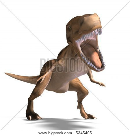 T-Rex. 3D render with clipping path and shadow over white poster
