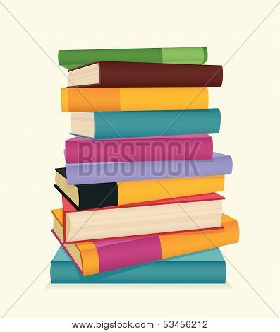 Stack of colorful books. Vector illustration.