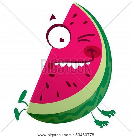 Cartoon Pink Watermelon Fruit Character Making A Crazy Face