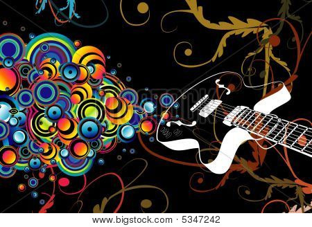 Colorful retro guitar singing bubbles background with high constract colors poster