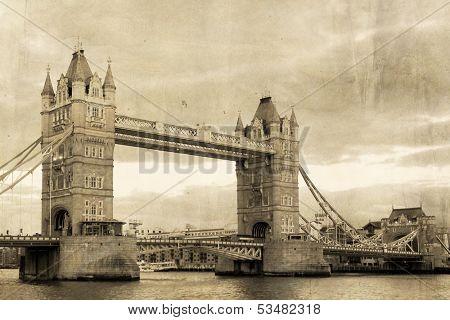 Vintage view of London,Tower Bridge