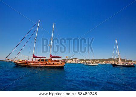 Ibiza San Antonio Abad Sant Antoni de Portmany sailboats in Balearic Islands